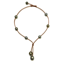 Fine Pearls and Leather Jewelry by Designer Wendy Mignot Seacrest Tahitian Necklace