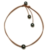 Fine Pearls and Leather Jewelry by Designer Wendy Mignot Signature Tahitian Necklace