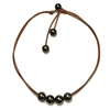 Fine Pearls and Leather Jewelry by Designer Wendy Mignot Violet Versatile Four Tahitian Necklace