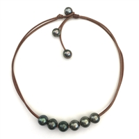 Fine Pearls and Leather Jewelry by Designer Wendy Mignot Violet Versatile Six Tahitian Necklace