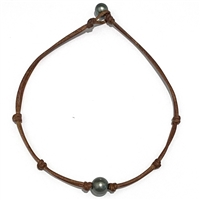 Fine Pearls and Leather Jewelry by Designer Wendy Mignot Zak Tahitian Necklace with Knots
