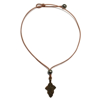 Fine Pearls and Leather Jewelry by Designer Wendy Mignot Byzantine Cross Tahitian Necklace