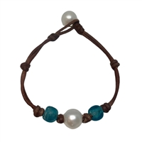 Blue Mountain Beach Sea Glass and Pearl Bracelet