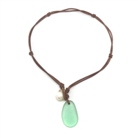 Fine Pearls and Leather Jewelry by Designer Wendy Mignot | Coastline Anegada Green Sea Glass Necklace
