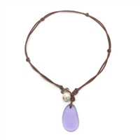 Fine Pearls and Leather Jewelry by Designer Wendy Mignot | Coastline Anegada Violet Sea Glass Necklace