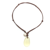 Fine Pearls and Leather Jewelry by Designer Wendy Mignot | Coastline Anegada Light Yellow Sea Glass Necklace