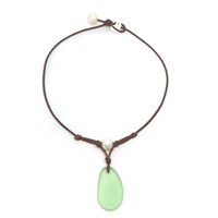 Fine Pearls and Leather Jewelry by Designer Wendy Mignot | Coastline Grove Green Sea Glass Necklace