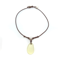 Fine Pearls and Leather Jewelry by Designer Wendy Mignot | Coastline Grove Light Yellow Sea Glass Necklace