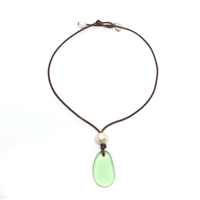 Fine Pearls and Leather Jewelry by Designer Wendy Mignot | Coastline Saba Green Sea Glass Necklace