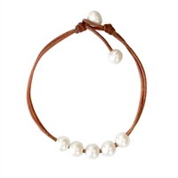 Fine Pearls and Leather Jewelry by Designer Wendy Mignot Andros Freshwater Pearl Anklet