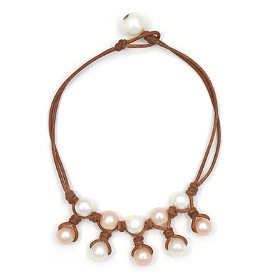 Fine Pearls and Leather Jewelry by Designer Wendy Mignot Kea Freshwater Pearl Anklet Multicolor