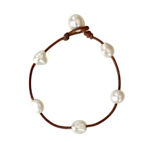 Fine Pearls and Leather Jewelry by Designer Wendy Mignot Milos Freshwater Pearl Anklet