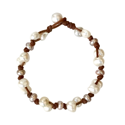 Fine Pearls and Leather Jewelry by Designer Wendy Mignot Mykonos Freshwater Pearl Anklet