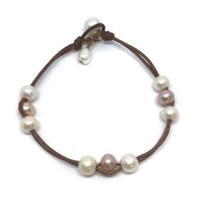 Fine Pearls and Leather Jewelry by Designer Wendy Mignot Naxos Freshwater Pearl Anklet Multicolor