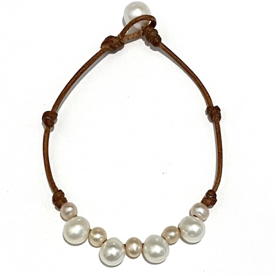 Fine Pearls and Leather Jewelry by Designer Wendy Mignot Paros Freshwater Pearl Anklet Multicolor