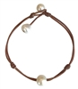Fine Pearls and Leather Jewelry by Designer Wendy Mignot Santorini Freshwater Pearl Anklet