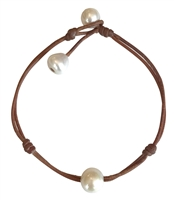 Fine Pearls and Leather Jewelry by Designer Wendy Mignot Single Freshwater Pearl Anklet