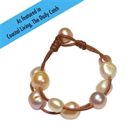 Fine Pearls and Leather Jewelry by Designer Wendy Mignot Music Two Strand Freshwater Bracelet Multicolor