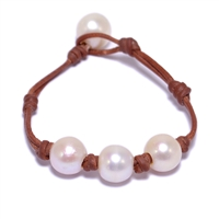 Fine Pearls and Leather jewelry by Designer Wendy Mignot Daisy Three Pearl Freshwater Bracelet with Knots