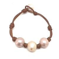 Daisy Three Pearl Freshwater Bracelet with Knots Blush | Fine Pearls and Leather jewelry by Designer Wendy Mignot