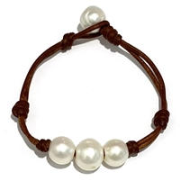 Fine Pearls and Leather Jewelry by Designer Wendy Mignot Three Pearl Freshwater Bracelet