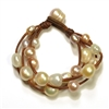 Fine Pearls and Leather Jewelry by Designer Wendy Mignot Music Four Strand Freshwater Bracelet Multicolor