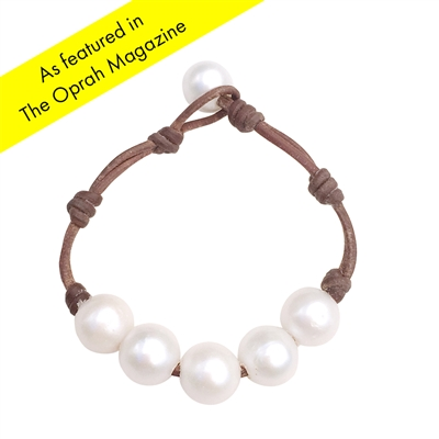 Fine Pearls and Leather Jewelry by Designer Wendy Mignot Breezy Five Pearl Freshwater Bracelet