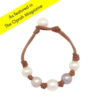 Fine Pearls and Leather Jewelry by Designer Wendy Mignot Breezy Five Pearl Freshwater Bracelet with Knots, Multicolor LTD