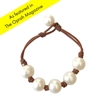 Fine Pearls and Leather Jewelry by Designer Wendy Mignot Breezy Five Pearl Freshwater Bracelet with Knots