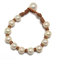 Fine Pearls and Leather Jewelry by Designer Wendy Mignot All Around Freshwater Bracelet
