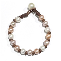 All Around Freshwater Bracelet Blush | Fine Pearls and Leather Jewelry by Designer Wendy Mignot