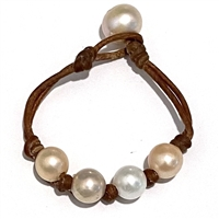Fine Pearls and Leather Jewelry by Designer Wendy Mignot Bebe Four Pearl Freshwater Bracelet Multicolor