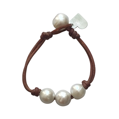 Fine Pearls and Leather Jewelry by Designer Wendy Mignot Bebe Daisy Three Pearl Freshwater Bracelet White