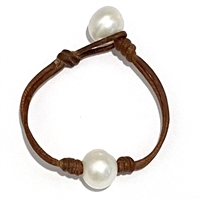 Fine Pearls and Leather Jewelry by Designer Wendy Mignot Bebe Coastal Single Freshwater Bracelet White