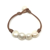 Fine Pearls and Leather Jewelry by Designer Wendy Mignot Flat Four Freshwater Pearl Bracelet