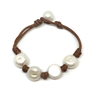 Fine Pearls and Leather Jewelry by Designer Wendy Mignot Flat Four Freshwater Pearl Bracelet with Knots