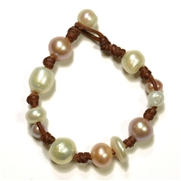 Fine Pearls and Leather Jewelry by Designer Wendy Mignot Gypsy Freshwater Bracelet