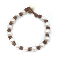 Fine Pearls and Leather Jewelry by Designer Wendy Mignot Small World Freshwater Bracelet