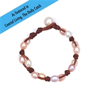 Fine Pearls and Leather Jewelry by Designer Wendy Mignot Toboga Freshwater Bracelet Multicolor