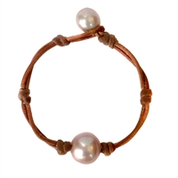 Fine Pearls and Leather Jewelry by Designer Wendy Mignot Coastal Single Freshwater Bracelet Rose