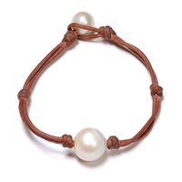 Fine Pearls and Leather Jewelry by Designer Wendy Mignot Coastal Single Freshwater Bracelet