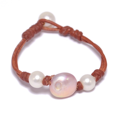 Fine Pearls and Leather Jewelry by Designer Wendy Mignot Stop Light Freshwater Bracelet