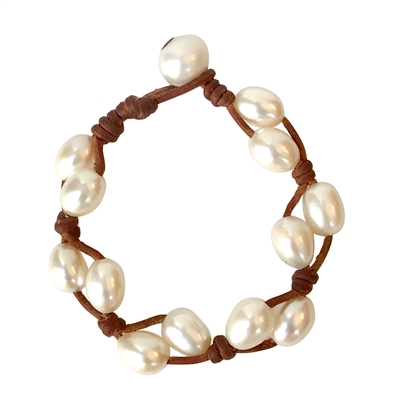 Fine Pearls and Leather Jewelry by Designer Wendy Mignot Toboga Freshwater Bracelet White