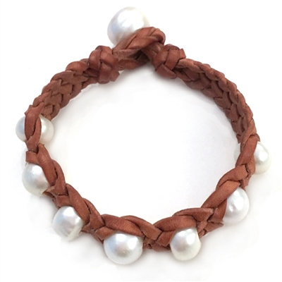 Fine Pearls and Leather Jewelry by Designer Wendy Mignot Trinity Freshwater Pearl Bracelet