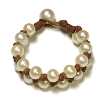 Fine Pearls and Leather Jewelry by Designer Wendy Mignot Triple Weave Freshwater Bracelet