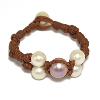 Fine Pearls and Leather Jewelry by Designer Wendy Mignot Wendy Center Freshwater Bracelet Multicolor