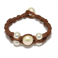 Fine Pearls and Leather Jewelry by Designer Wendy Mignot Wendy Center Freshwater Bracelet White