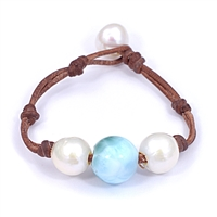 Fine Pearls and Leather Jewelry by Designer Wendy Mignot Laramar and Freshwater Pearl Bracelet