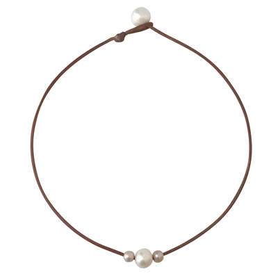 Fine Pearls and Leather jewelry by Designer Wendy Mignot Curaco Three Pearl Freshwater Necklace