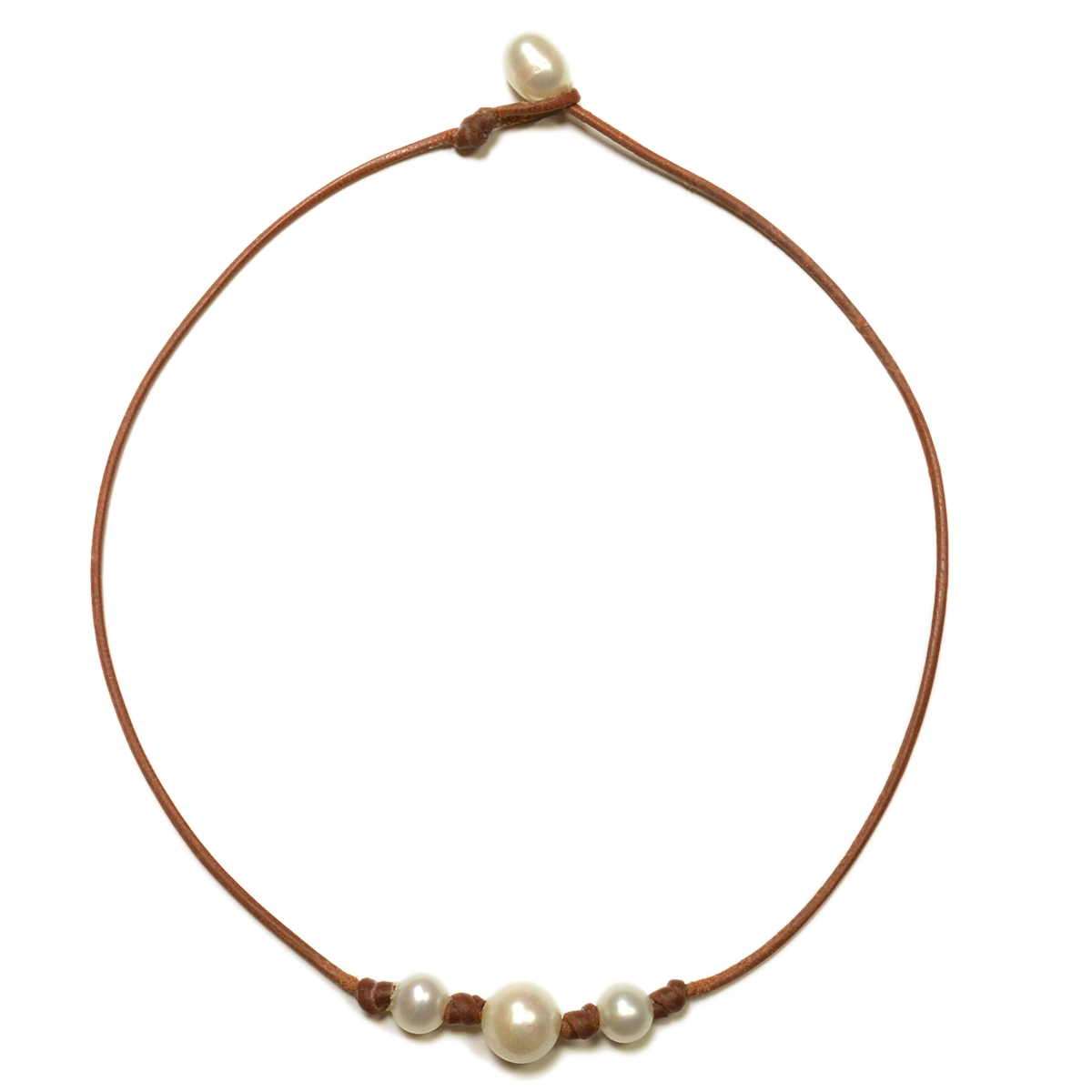 Fine Pearls And Leather Jewelry By Designer Wendy Mignot Pearl Daisy Three  Freshwater Necklace White With